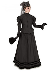 cheap -Duchess Corrina victorian Victorian Ball Gown 1910s Edwardian Party Costume Bustle Dress Women's Costume Black Vintage Cosplay Masquerade Party & Evening Long Sleeve Floor Length Long Length Two Piece