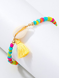 cheap -Women's Bead Bracelet Vintage Bracelet Earrings / Bracelet Retro Shell Simple Classic Tassel Ethnic Fashion Shell Bracelet Jewelry Gold For Daily School Street Holiday Festival / Pendant Bracelet