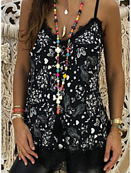 cheap -Women's Going out Club Boho Tank Top - Graphic Lace / Backless / Print V Neck Black