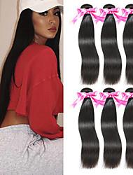 cheap -6 Bundles Peruvian Hair Straight Unprocessed Human Hair 100% Remy Hair Weave Bundles Natural Color Hair Weaves / Hair Bulk Bundle Hair Human Hair Extensions 8-28 inch Natural Color Human Hair Weaves