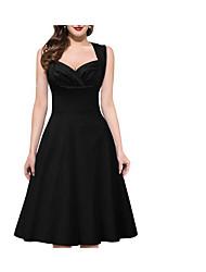 cheap -Women's A Line Dress - Polka Dot Solid Colored Deep V Black Blue Red S M L XL