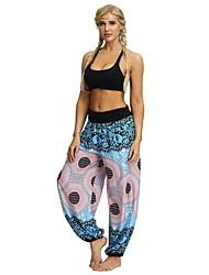 cheap -Women's Basic Harem Pants - Print Black Blue S M L