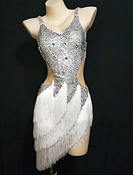 cheap -Exotic Dancewear Nightclub Jumpsuits / Club Costume Women's Performance Spandex Tassel / Crystals / Rhinestones Sleeveless Dress