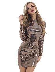 cheap -Diva Disco 1980s Dress Women's Sequins Costume Black / Golden Vintage Cosplay Prom Long Sleeve Above Knee Sheath / Column