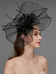 cheap -Net Fascinators / Headdress / Headpiece with Feather / Flower / Trim 1 Piece Wedding / Special Occasion / Horse Race Headpiece
