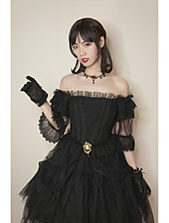 cheap -Artistic / Retro Vintage Elegant Dress Party Costume Masquerade Party Dress Female Organza Japanese Cosplay Costumes White / Black Solid Colored Vintage Lace Puff Sleeve Short Sleeve Midi
