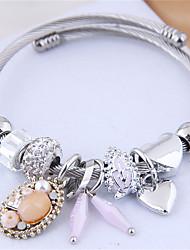 cheap -Women's Charm Bracelet Bracelet Bangles Bracelet Beads Leaf Heart Korean Sweet Fashion Cute Elegant Steel Bracelet Jewelry Black / Green / Pink For Party Gift Daily Prom Holiday / Imitation Diamond