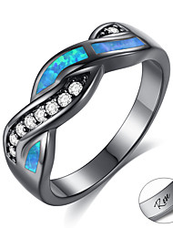 cheap -Personalized Customized Blue Cubic Zirconia Ring Zircon Classic Engraved Gift Promise Festival Waves 1pcs Blue / Laser Engraving