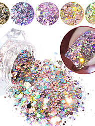 cheap -1Box Nail Glitter Flakes Mixed Hexagon Round Symphony Sequins Pigment Holographic Nail Art Powder Dust DIY Manicure Decorations