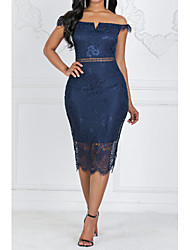 Недорогие -Жен. Оболочка Платье - Без рукавов Однотонный Кружева Тонкие Синий S M L XL