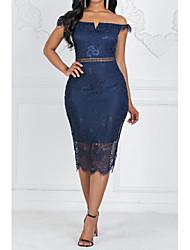 cheap -Women's Sheath Dress - Solid Colored Lace Blue M L XL