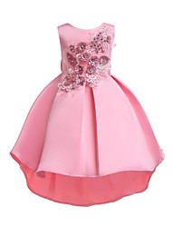 cheap -Princess Asymmetrical Flower Girl Dress - Cotton / Polyester Sleeveless Jewel Neck with Appliques / Bow(s) / Crystals by LAN TING Express