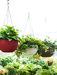 cheap -Simulate Rattan Plaited Plastic Hanging Flowerpot with Water Storage Design Home Office Decoration