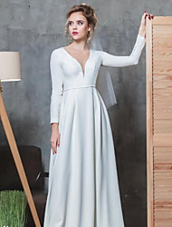 cheap -A-Line V Neck Floor Length Stretch Satin Long Sleeve Made-To-Measure Wedding Dresses with Beading 2020