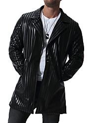 abordables -Homme Soirée / Sports Printemps été / Automne hiver Normal Veste, Couleur Pleine Revers Cranté Manches Longues Polyuréthane Noir