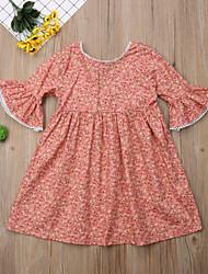 cheap -Kids Toddler Girls' Active Basic Floral Geometric Print Half Sleeve Knee-length Dress Orange / Cotton