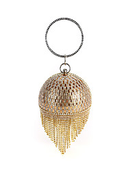 cheap -Women's Crystals / Tassel Polyester / Alloy Evening Bag Gold / Silver / Black
