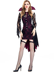 cheap -Vampire Dress Cosplay Costume Masquerade Adults' Women's Cosplay Halloween Christmas Halloween Carnival Festival / Holiday Lace Polyster Purple Women's Carnival Costumes Holiday Lace Halloween