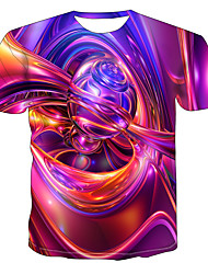 cheap -Men's Plus Size Abstract Graphic Print T-shirt Daily Wear Round Neck Rainbow / Short Sleeve