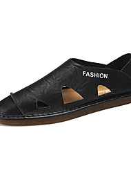 cheap -Men's Moccasin Leather / Patent Leather Spring & Summer Casual Loafers & Slip-Ons Breathable Black / Brown / White / Outdoor