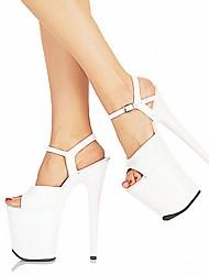 cheap -Women's Heels Stiletto Heel Peep Toe PU British Spring & Summer Black / White / Red / Wedding / Party & Evening