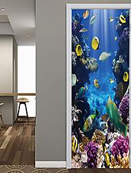 cheap -Undersea Fish Door Stickers Decorative Waterproof Door Decal Decor