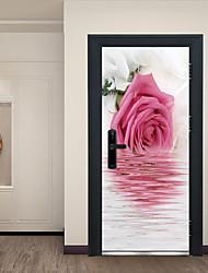 cheap -Reflection of Pink Flowers Door Stickers Decorative Waterproof Door Decal Decor