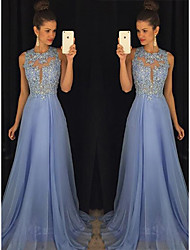 cheap -A-Line Jewel Neck Sweep / Brush Train Chiffon Empire / Blue Prom / Formal Evening Dress with Beading / Appliques 2020