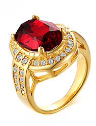 cheap -Women's Ring Synthetic Ruby 1pc Gold Rhinestone Titanium Steel Geometric Luxury Bohemian Fashion Wedding Party Jewelry Geometrical Sweet Heart Lucky