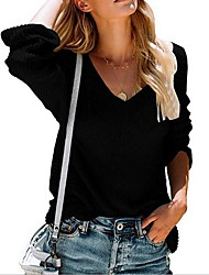 cheap -Women's Solid Colored Pullover Long Sleeve Sweater Cardigans V Neck Wine White Black
