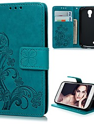 cheap -Case For Samsung Galaxy S4 Mini Wallet / Card Holder / with Stand Full Body Cases Flower Hard PU Leather