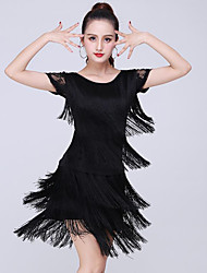 cheap -Latin Dance Skirts Lace Tassel Women's Training Performance Short Sleeve High Lace Milk Fiber Polyester
