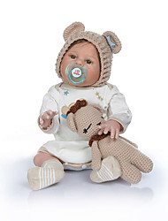 cheap -NPKCOLLECTION 22 inch Reborn Doll Baby Baby Boy Baby Girl Cute Artificial Implantation Brown Eyes Full Body Silicone with Clothes and Accessories for Girls' Birthday and Festival Gifts