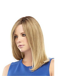 cheap -Synthetic Wig Straight With Bangs Wig Blonde Medium Length Light golden Synthetic Hair 45 inch Women's Women Blonde