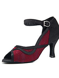 cheap -Women's Dance Shoes Satin Latin Shoes Lace Heel Slim High Heel Customizable Red / Black