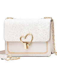 cheap -Women's Bags PU Leather Shoulder Strap Crossbody Bag Solid Color Sequins Party Daily Black Blue Blushing Pink Beige