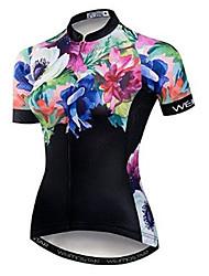 cheap -21Grams Floral Botanical Women's Short Sleeve Cycling Jersey - Black Bike Jersey Top Breathable Moisture Wicking Quick Dry Sports Polyester Elastane Terylene Mountain Bike MTB Road Bike Cycling