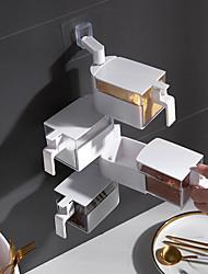 cheap -White Four-layer Kitchen Wall-mounted Spice Box Free Punching Sugar Salt Msg Seasoning Box