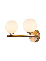 Недорогие -настенные светильники сферические настенные светильники современные стеклянные бра 2 светильники глобус тень тень туалетное зеркало свет спальня ночник настенный золотой