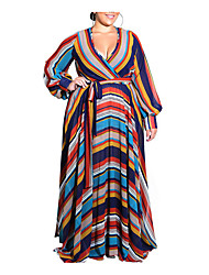 cheap -Women's Shift Dress Maxi long Dress - Long Sleeve Striped Deep V Plus Size Boho Blue Orange Navy Blue L XL XXL 3XL 4XL 5XL 6XL
