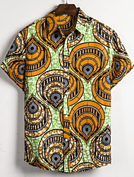 cheap -Men's Casual Shirt - Tribal Print Classic Collar Yellow / Short Sleeve