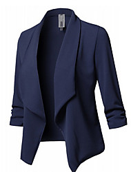 cheap -Women's Blazer, Solid Colored V Neck Polyester Black / Wine / White