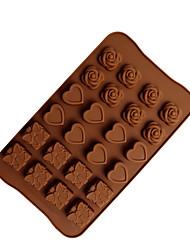 Недорогие -24 отверстия роза любовь силиконовые формы шоколадные формы для выпечки ручной работы diy украшения торта кухня выпекать инструменты