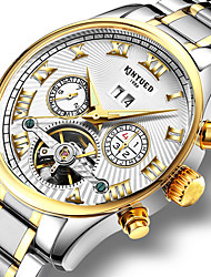 cheap -KINYUED Men's Skeleton Watch Wrist Watch Mechanical Watch Automatic self-winding Charm Water Resistant / Waterproof Analog Black / Gold White / Black White+Golden / Stainless Steel / Stainless Steel