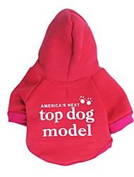 cheap -Dog Shirt / T-Shirt Sweater Hoodie Animal Cartoon Quotes & Sayings Simple Style Casual / Sporty Dog Clothes Puppy Clothes Dog Outfits Red Dark Blue Costume for Girl and Boy Dog Fabric Fleece XS S M L