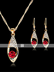 cheap -Women's Stud Earrings Pendant Necklace Cut Out Stylish Classic Rhinestone Gold Plated Earrings Jewelry Green / Red / Blue For Daily Work 1 set