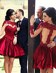 cheap -A-Line Jewel Neck Short / Mini Lace / Stretch Satin Hot / Red Cocktail Party / Prom Dress with Appliques / Pleats 2020