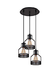cheap -3-Light Chandeliers 3 Lights Pendant Light Round Adjustable Industrial Iron Pendant Light Fixtures Island Hanging Lighting Ceiling Light Black