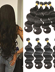 cheap -4 Bundles Brazilian Hair Body Wave Virgin Human Hair Natural Color Hair Weaves / Hair Bulk 8-26 inch Natural Black Ombre Human Hair Weaves Odor Free Silky Human Hair Extensions