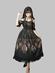 cheap -Patterned Gothic Lolita Gothic Dress Party Costume Costume Party Dress Female Japanese Cosplay Costumes Black / Red Pattern Floral Print Lace Puff Sleeve Short Sleeve Long Length